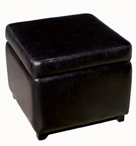 Brown Full Bycast Leather Ottoman - 6