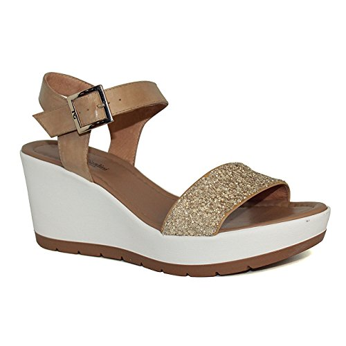 Donna Nero Giardini 17710 sandali da in pelle col. alt. zeppa cm.num.
