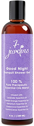 7 Jardins Good Night Tranquil Bath and Shower Gel - Calming, Relaxing, Sleep Aromatherapy Enriched with Lavender, Sweet Orange, Geranium, Cedarwood & Frankincense Essential Oils. 100% Sulfate Free