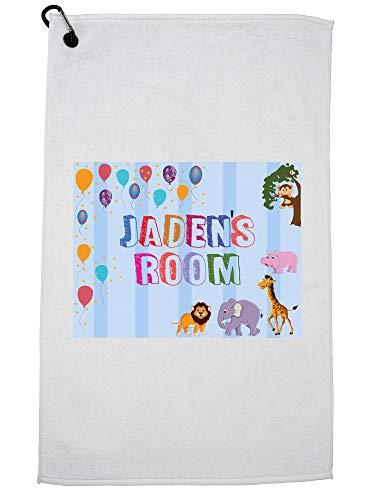 Hollywood Thread Jaden's Room - Boy Birthday Gift - Balloons & Animals Golf Towel with Carabiner Clip (Jade Golf Putter)