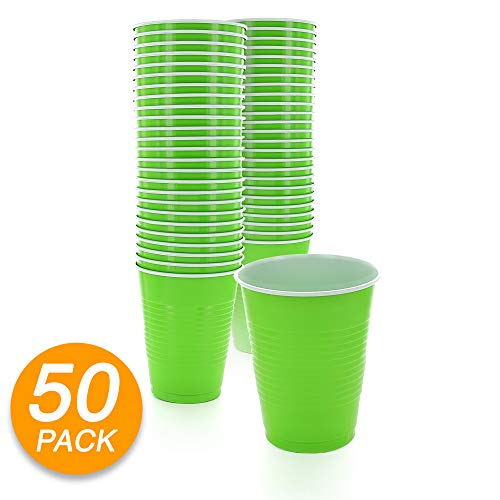 Amcrate Kiwi Green Colored 16-Ounce Disposable Plastic Party Cups - Ideal for Weddings, Party's, Birthdays, Dinners, Lunch's. (Pack of 50)
