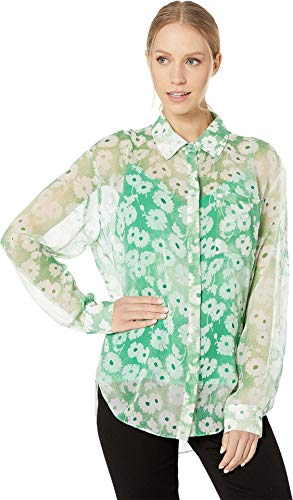 Juicy Couture Women's Washed Daisy Button Down Blouse Botanical Washed Small