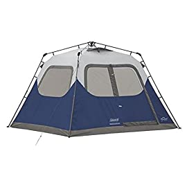 Coleman 6-Person Instant Tent Blue 1 Instant setup in about 60 seconds Pre-attached poles for quicker, simpler setup – just extend and secure Integrated vented rainfly for extra airflow without extra assembly