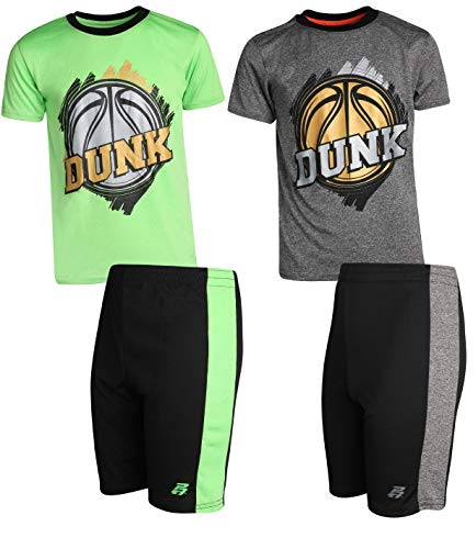 (Pro Athlete Boys 4-Piece Matching Performance Basketball Shirt and Short Sets (Dunk Hoops,)