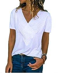 Women White Tops Summer V Neck Short Sleeve Casual Knit T Shirts Blouses Tunics