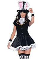 Storybook Bunny Costume Women 4 Piece Set Mini Dress and Matching Accessories