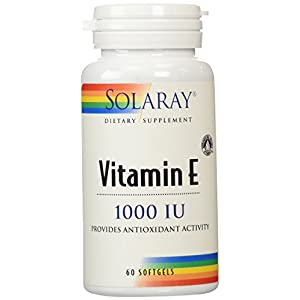 Solaray® Vitamin E, d Alpha Tocopherol 1000IU | for Healthy Cardiac Function, Antioxidant Activity & Skin Health Support | Lab Verified | 60 Softgels