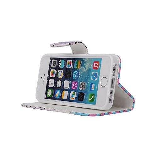 MOONCASE iPhone 5 Case Leder Tasche Flip Case Schutzhülle Etui Kartenfächer Hülle Schale Cover für iPhone 5 5S -ZD09