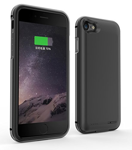 Tinpec iPhone 7 Battery Colorful Case, Portable 2800mAh Rechargeable External Battery Backup Charger Charging Case Power Bank Cover for Apple iPhone 7 2016 (4.7 inch) (Black) Colorful Case