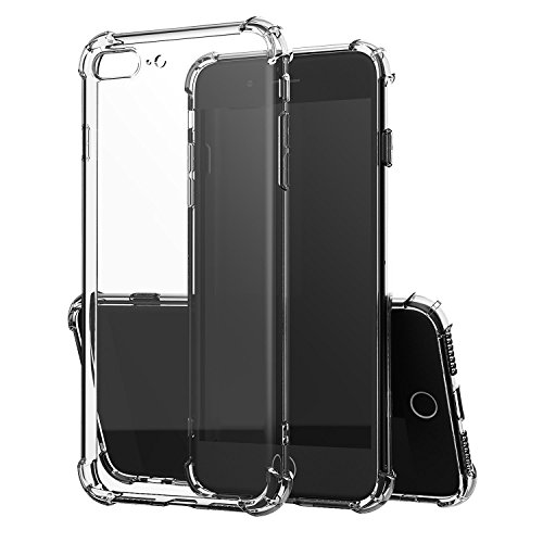 iPhone 7 Plus Case, iPhone 8 Plus Phone Shell, Mooseng Transparent Crystal Clear Shock Absorption Technology Bumper Soft TPU Cover Case for iPhone 7 Plus (2016)/iPhone 8 Plus (2017) - (Soft Tpu Bumper Case)