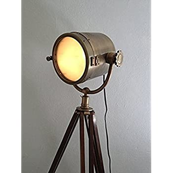Brown Antique Rustic Nautical Searchlight With Tripod Floor Lamp ...