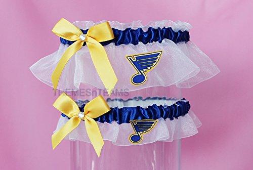 Customizable handmade - White, blue, gold - St Louis Blues fabric handcrafted keepsake bridal garters wedding garter set tnt by BOYX Designs