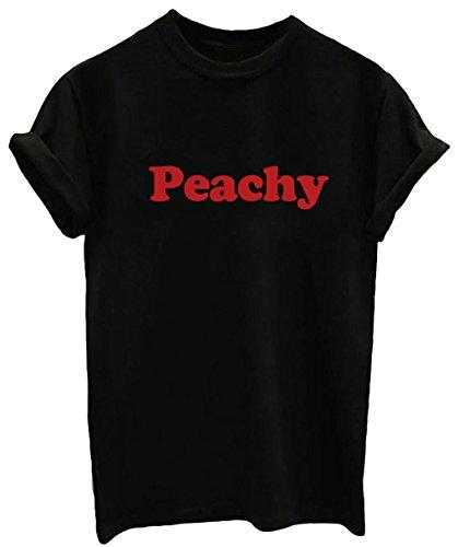 YITAN Summer Cotton Tees Graphic Funny Junior Girls Loose T-shirts Black ()