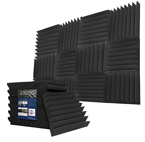 - YYT 6 Pack Acoustic Panels Sound Absorption Wedges type - Black 2