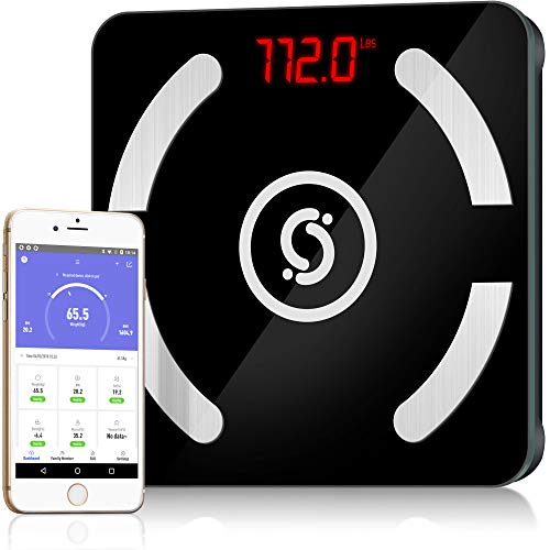 (Cruxsolver Bluetooth Smart Scale for Body Fat with Built-in Battery | Wireless Digital Bathroom Weight Scale with Free iOS and Android APP | Body Composition Analyzer with 12 Physical Data)