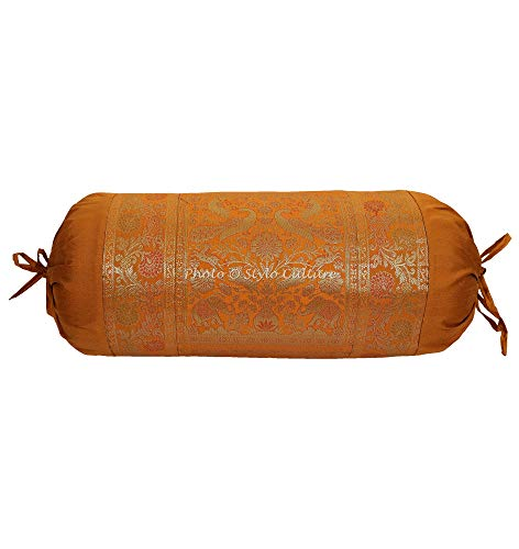 Stylo Culture Ethnic Polydupion Cylindrical Tubular Bolster Pillow Cover Brown Jacquard Brocade Border Elephant Large Diwan Cylinder Pillow Cushion Cover (1 Pc) | 30x15 Inches (76x38 cm) ()