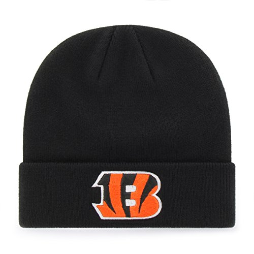 OTS NFL Cincinnati Bengals Raised Cuff Knit Cap, Black, One Size
