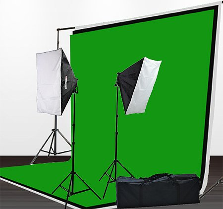 Fancierstudio 1600 Watt Light Kit Lighting Kit Video Lighting Kit Softbox Lighting Kit Background Stand With Three Muslin Backdrop Chromakey Green Kit By Fancierstudio 9004S6x9BWG by Fancierstudio