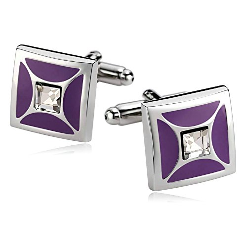 Beydodo Cuff Link Unique Stainless Steel Cufflinks for Men Purple Square Vintage Business Gift for (Steel Square Cufflinks)