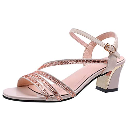 haoricu Womens Casual Espadrilles Trim Rubber Sole Flatform Studded Wedge Buckle Ankle Strap Open Toe Sandals Beige