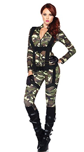 Women's Unique Halloween Costume Ideas (Leg Avenue Women's 2pc.pretty Paratrooper,zipper Front Camo Jumpsuit and Body Harness,)