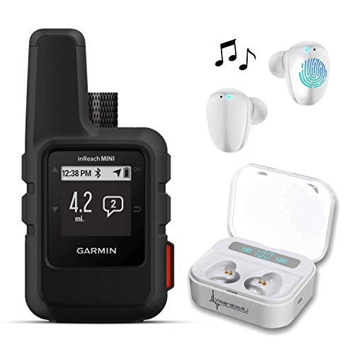 Garmin InReach Mini, Lightweight and Compact Handheld Iridium Satellite Communicator and Wearable4U White Earbuds Ultimate Charging Power Bank Case Bundle (Black)