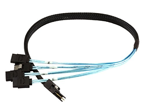 Monoprice 0.5m 30AWG Internal Mini SAS 36pin (SFF-8087) Male w/ Latch to SATA 7pin Female (x4) Forward Breakout Cable - Black by Monoprice