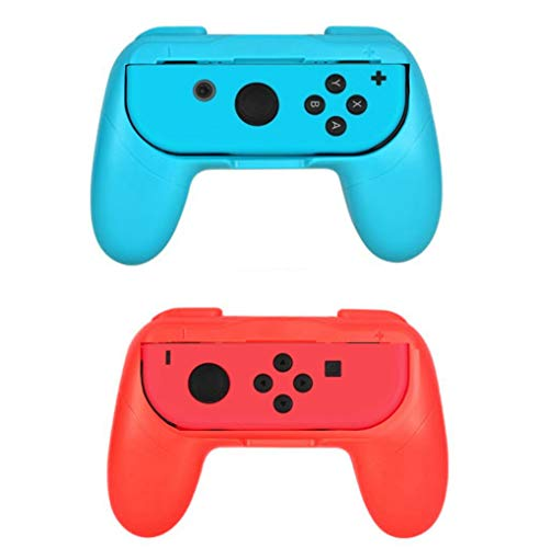 Grip kit for Nintendo Switch Joy-Con Controllers,Wear-Resistant Joy-con Handle for Nintendo Switch,2Pack (Red/Blue)