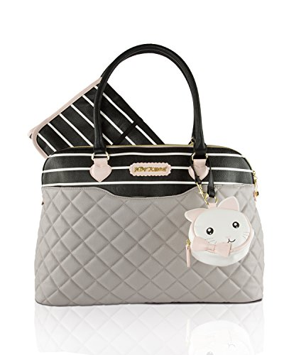 Betsey Johnson 3pc Quilted Multi-Function Dome Diaper Satchel Tote Bag with Changing Mat - Grey