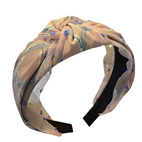 Pengy Boho Headbands for Women Vintage Criss Cross Elastic Head Wrap Hair Accessories for Girls Ladies Pink ()