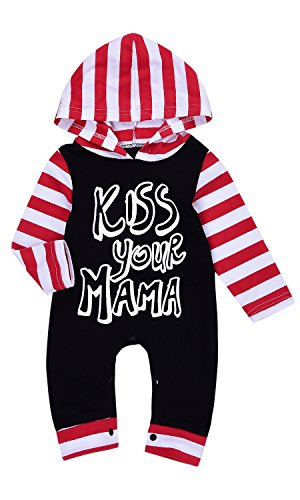Kiss Stripe - Baby Kids Red Stripe Kiss Your MAMA Print Hoodies Long Sleeve Bodysuit Romper (0-6M(Tag70), Black&Red)