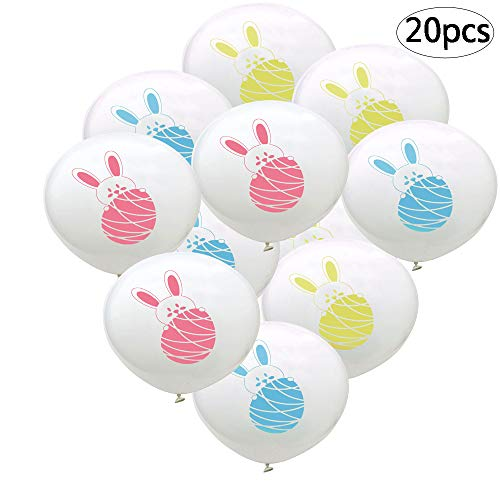 BinaryABC Easter Rabbit Buuny Egg Latex Balloons, Easter Birthday Party Favor Decoration,20Pcs(Mixed Color)