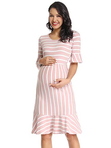 (Love2Mi Women's Striped Maternity Wear Dress Ruffle Trim Bell Sleeve Hi-Low Midi Dresses)