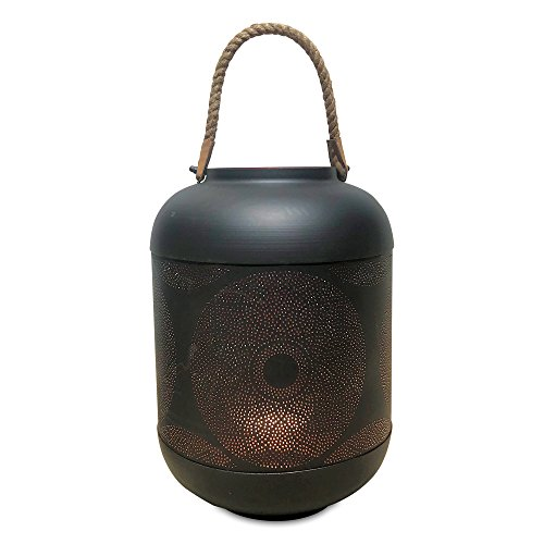 - WHW Whole House Worlds Black and Red Rope Top Temple Lantern, Punched Flowering Mandela Roundel Design, Artisan Crafted, Lacquered Iron, Rope Handles, Over 1 Ft Tall, from The Global Chic Collection