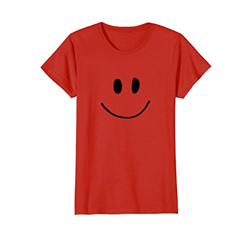 Womens Smiley Face Happy Graphic Tee Shirt XL Red - Happy Face T-shirt
