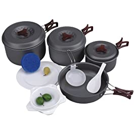 AceCamp Hard-Anodized Portable Camping Cookware Set, Stackable Nonstick Aluminum Cooking Mess Kit, Lightweight Family Pots, Pans, Cups, Bowls & More with Mesh Carrying Bag