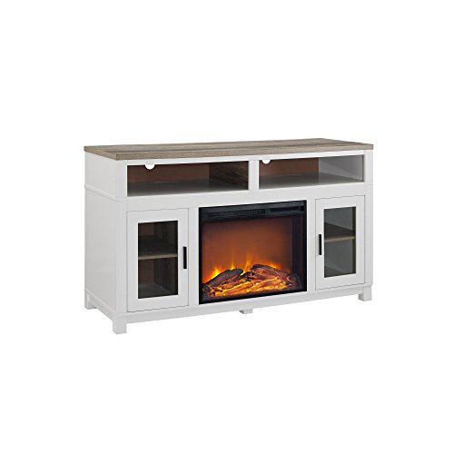 Ameriwood Home Carver Electric Fireplace TV Stand for TVs up to 60 Wide, White