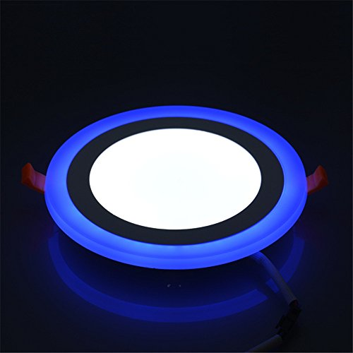 (2 Pack) Led Panel Light,BOLXZHU Led Ceiling Lights Round Double Color (Cool White+Blue),Ultrathin Led Recessed Lighting,(6+3) W Outer Diameter:150MM,Hole Size:110MM,6000-6500K,Led Downlights by BOLXZHU (Image #5)