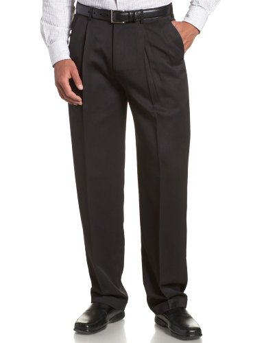 Perry Ellis Men's Portfolio Double Pleated Micro Melange Pant, Caviar, 33x32