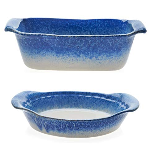 (Libbey Artisan Glazed Ceramic Stoneware Loaf Bake Dish Bundled with Pie Baker Dish Serving Plate, Blue and Cream)