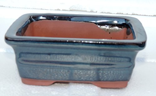 Ceramic Bonsai Pot - Rectangle 6 x 4.5x 2 color blue ()