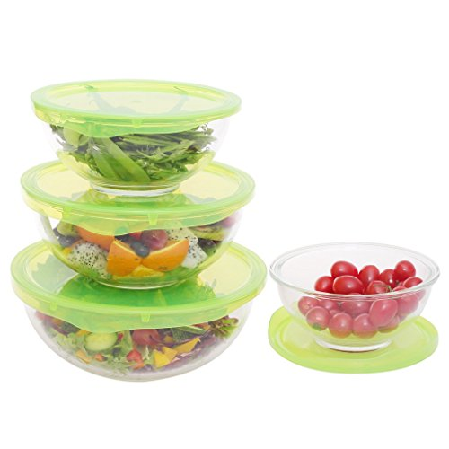 4-Piece Glass Mixing Bowl Set Round Nestable Prep Bowls For Cooking BPA-Free with Lids -