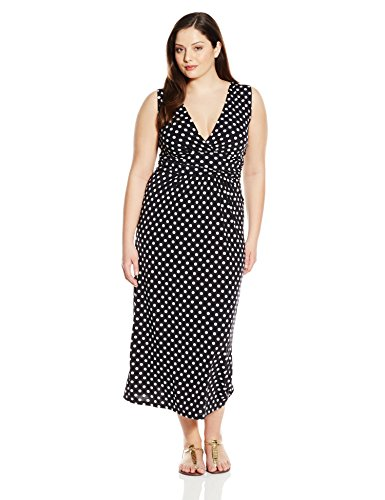 Star Vixen Women's Plus-Size Sleeveless Surplice Maxi Dress with Empire Banded Waist, Black/White Dot, 2X