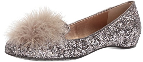 Kenneth Cole REACTION Women's Gen-ie Bottle Glitter Feather Pom Ballet Flat, Bronze, 7 Medium US