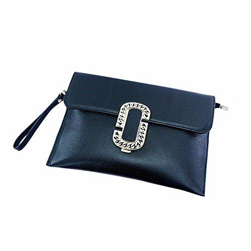 poignet embrayage de coursier et black cuir mesdames européen Black sac américain THyFpWq4g