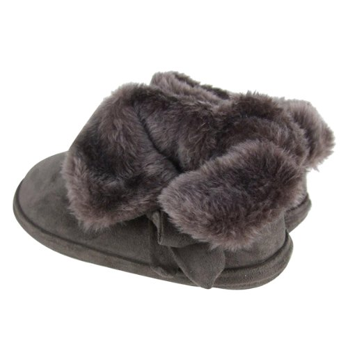 Ladies Faux Suede Furry Ankle Bootee Slippers Dark Brown (Bow Bootee) qlgJH1WYA
