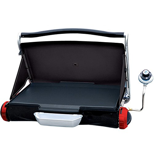 Camp and Tailgate Portable Propane Gas Grill, (Red Heart Attack Emblem)