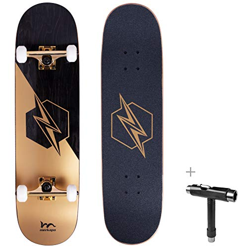 "Merkapa 31"" Pro Complete Skateboard 7 Layer Canadian Maple Double Kick Deck Concave Skateboards with Tool (Lightning)"