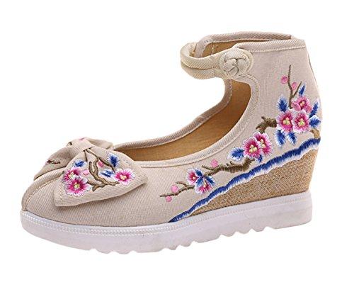 Insun Damen Mary Jane Schuhe Handgemachte Gestickte Pumps mit Keilabsatz Prom Schuhe Beige