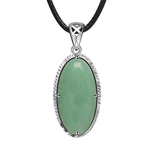 Stone Story Stone Pendant Gemstone Necklace Semi Precious Stone Crystal Necklace (Green Aventurine Jade)